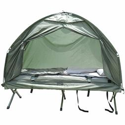 1 Person Pop Up Tent Cot Air Mattress Sleeping Bag Combo Out