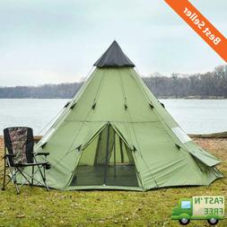 14'x14' Teepee Camping Tent Family 8 Person Outdoor Sleeping