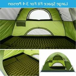 3-4 Person Camping Tent Double Layer Waterproof Hiking Beach