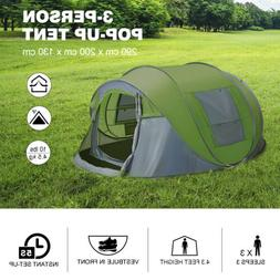 3-Person Pop Up Tent Outdoor Waterproof Tent Camping Shelter
