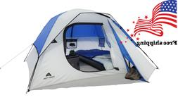 Ozark Trail 4 Person Camping Dome Tent Blue White Easy Setup
