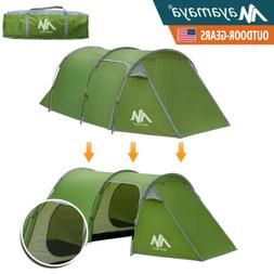 4 Person Camping Tunnel Dome Tent Family Waterproof Double L