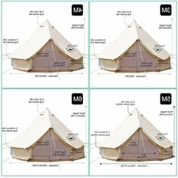 4-Season Waterproof Cotton Canvas Bell Tent Large Family Cam