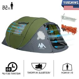 5-6 Person Large Camping Tent Outdoor Waterproof Instant Pop