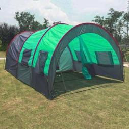 8-10 People Camping Tents Waterproof Tunnel Double Layer Lar