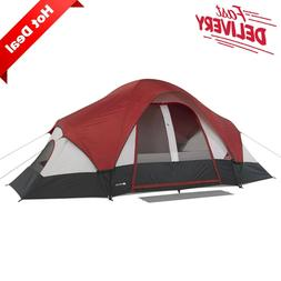 8-Person Family Tent with Mud Mat 2 Rooms Camping Cabin Outd