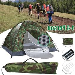 Camping Camouflage Tents 1-4 Person Waterproof Dome Tent w/