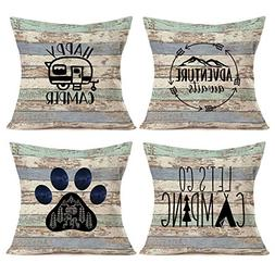 Asamour Camping Vintage Wood Home Decor Pillowcase Happy Cam