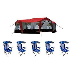 Tahoe Gear Carson 14 Person Cabin Tent + 5 Kelsyus Folding C