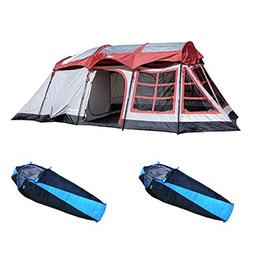 Tahoe Gear Glacier 14 Person Tent + Slumberjack 40 Degree Sl