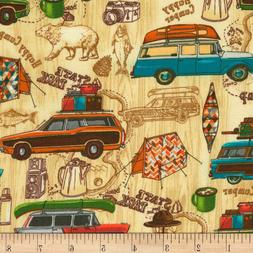 Timeless Treasures Happy Camper Camping Natural Fabric, Tent