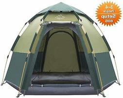 Hexagon Pop Up Tent 3-4 Person Dome Tent Waterproof Shelter