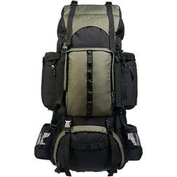 Internal Frame Hiking Backpack with Rainfly, 75 L, Green