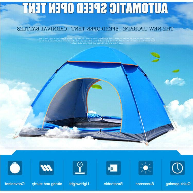 3-4 Man Pop Up Tent Family Portable Auto Instant Dome