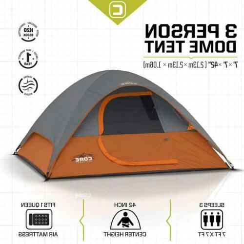 CORE Person Dome Tent 7'x7' Travel Camping Hiking Backpacking