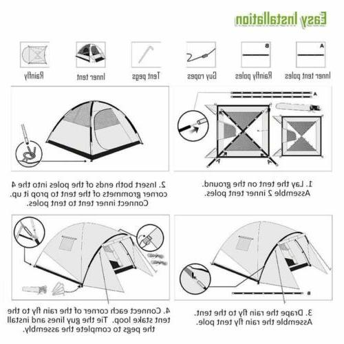 4 Tent Family Dome Waterproof Layer Outdoor US