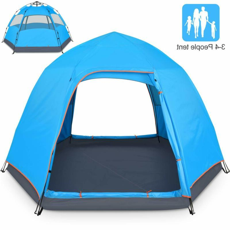 4 person tent for camping double layer