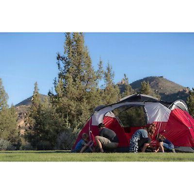 8 Person Tent Camping Outdoor Hiking Family Shelter Red
