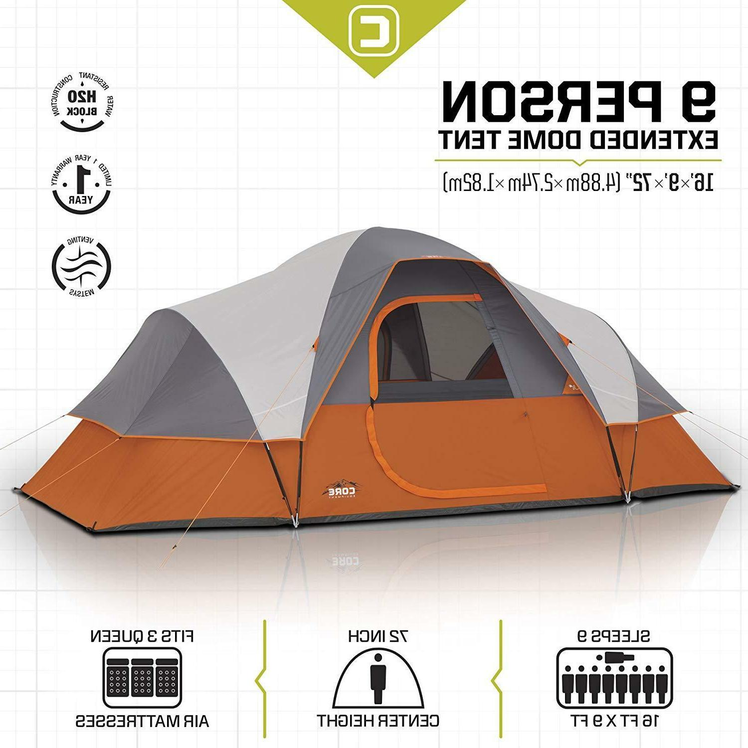 CORE 9 Dome Tent Camping Easy - 16' 9'