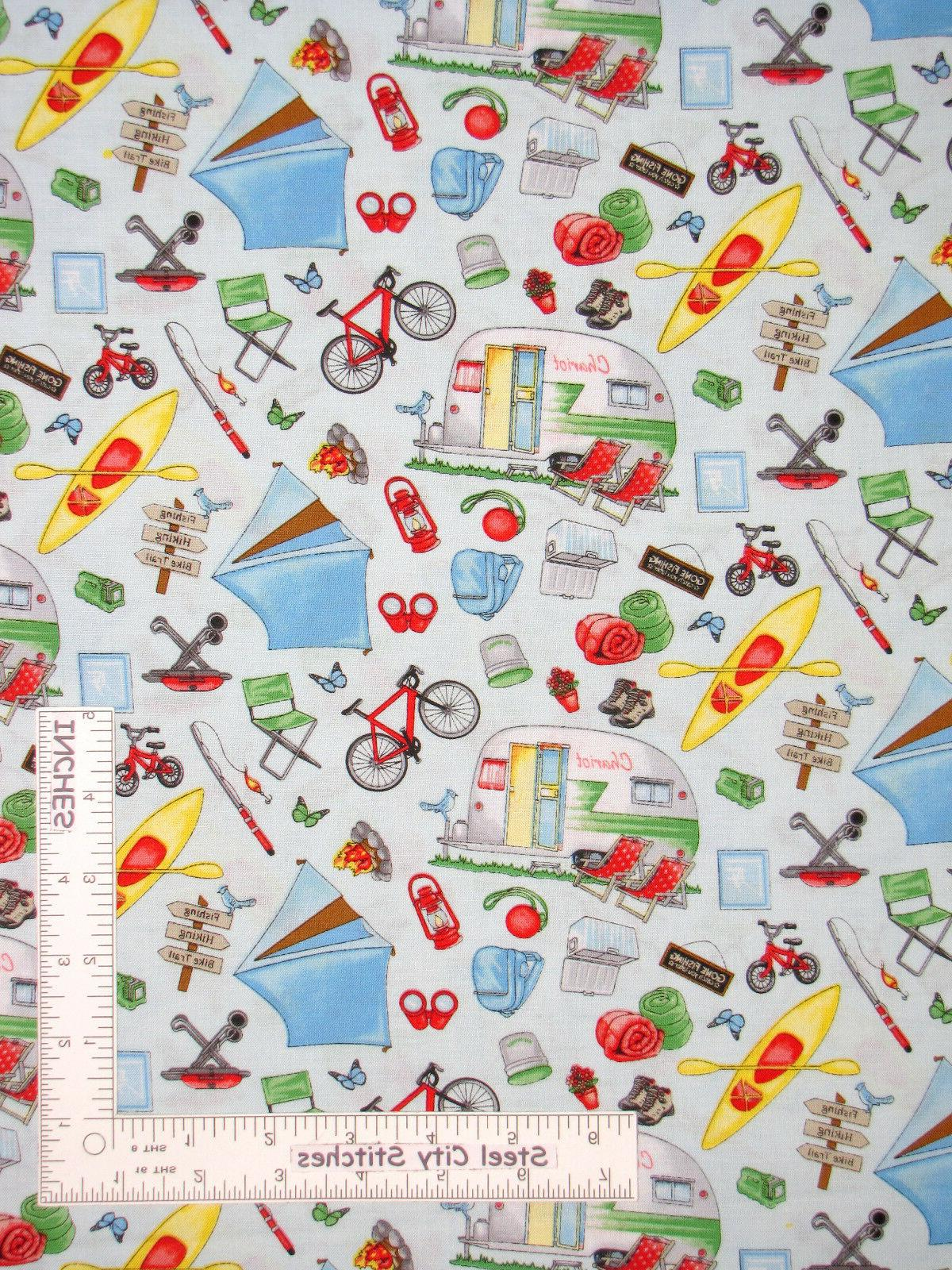 Camping Camp Tent Fire Blue Cotton Fabric Henry Glass 1332 Happy Camper By Yard