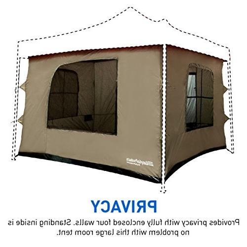 Camping Tent any 10'x10' Easy Pop Up Canopy with Walls, Floor, 2 4 Roof - Standing - TENT CANOPY
