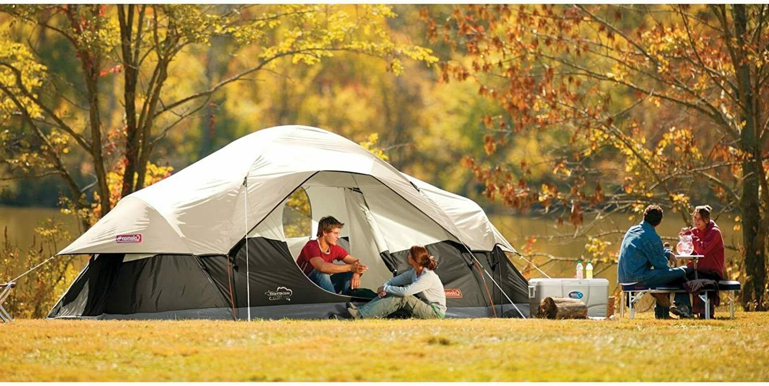 coleman red canyon 8 person tent black