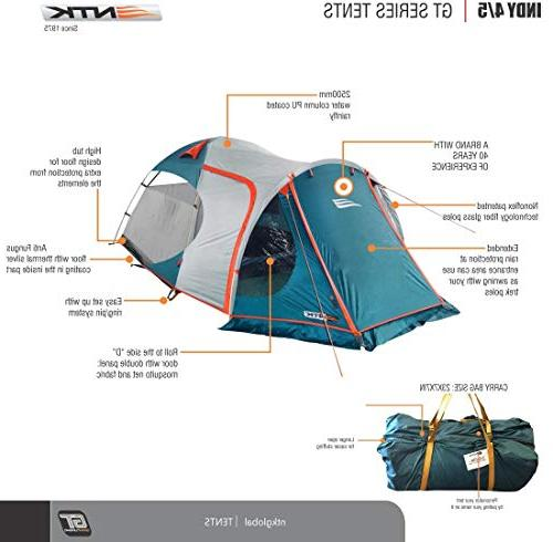 NTK INDY GT 4 to 5 Person 12.2 by 8 Dome 100% European Design,Easy Assembly, Durable Fabric Full Rainfly