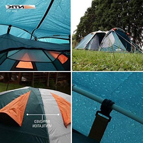 to Dome Camping Tent 100% Waterproof European Design,Easy Durable Fabric Full Coverage Rainfly Micro Mosquito