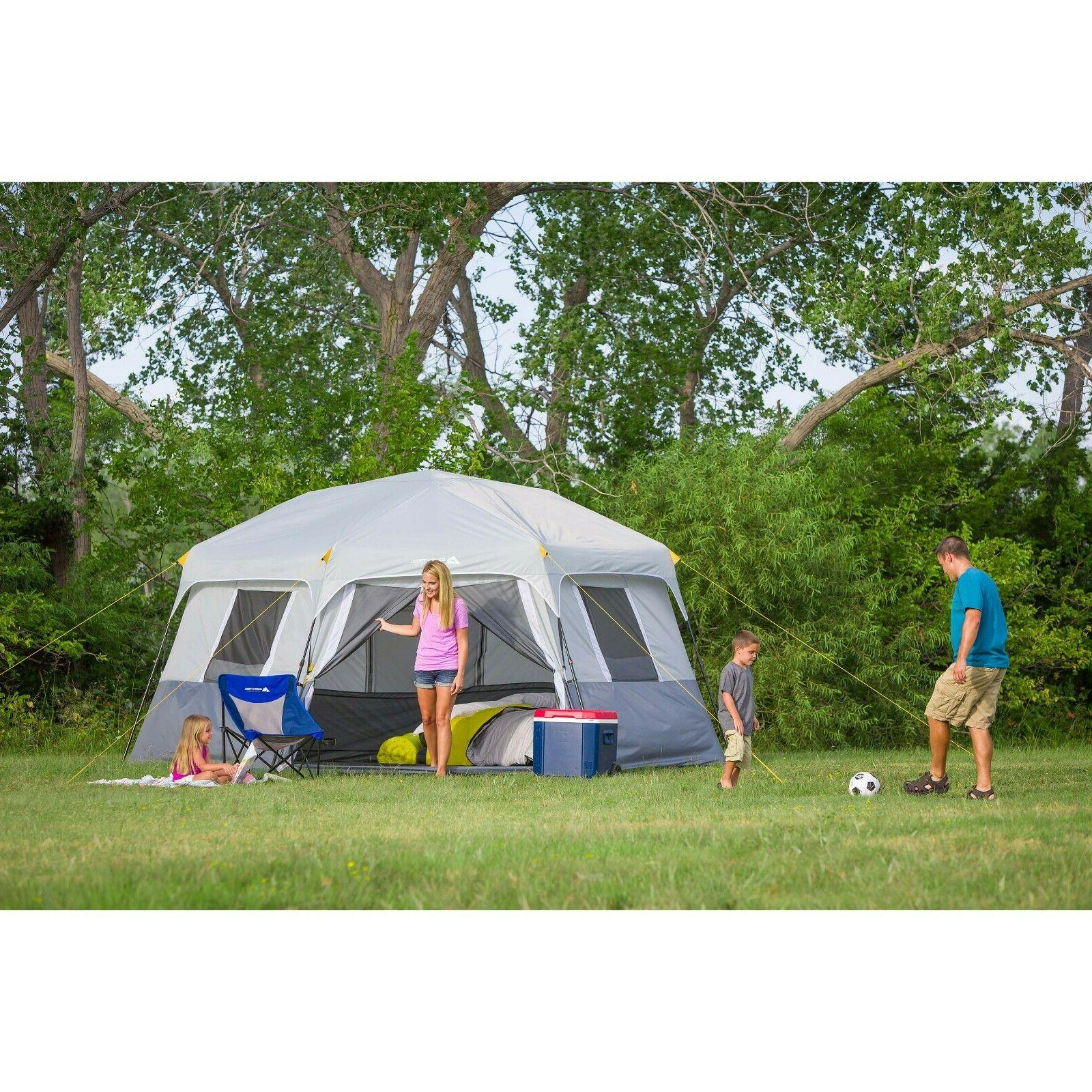 Instant Set Pop Up Hexagon 8 Person Outdoor Camping Shelter Tents