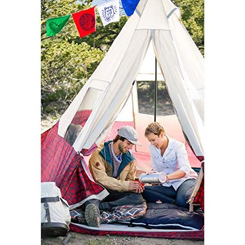 Wenzel Shenanigan 5 Person Summer Camping Tent, Red Plaid