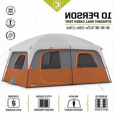 CORE Straight Wall 14 x Foot Person Tent 2 Rooms & Red