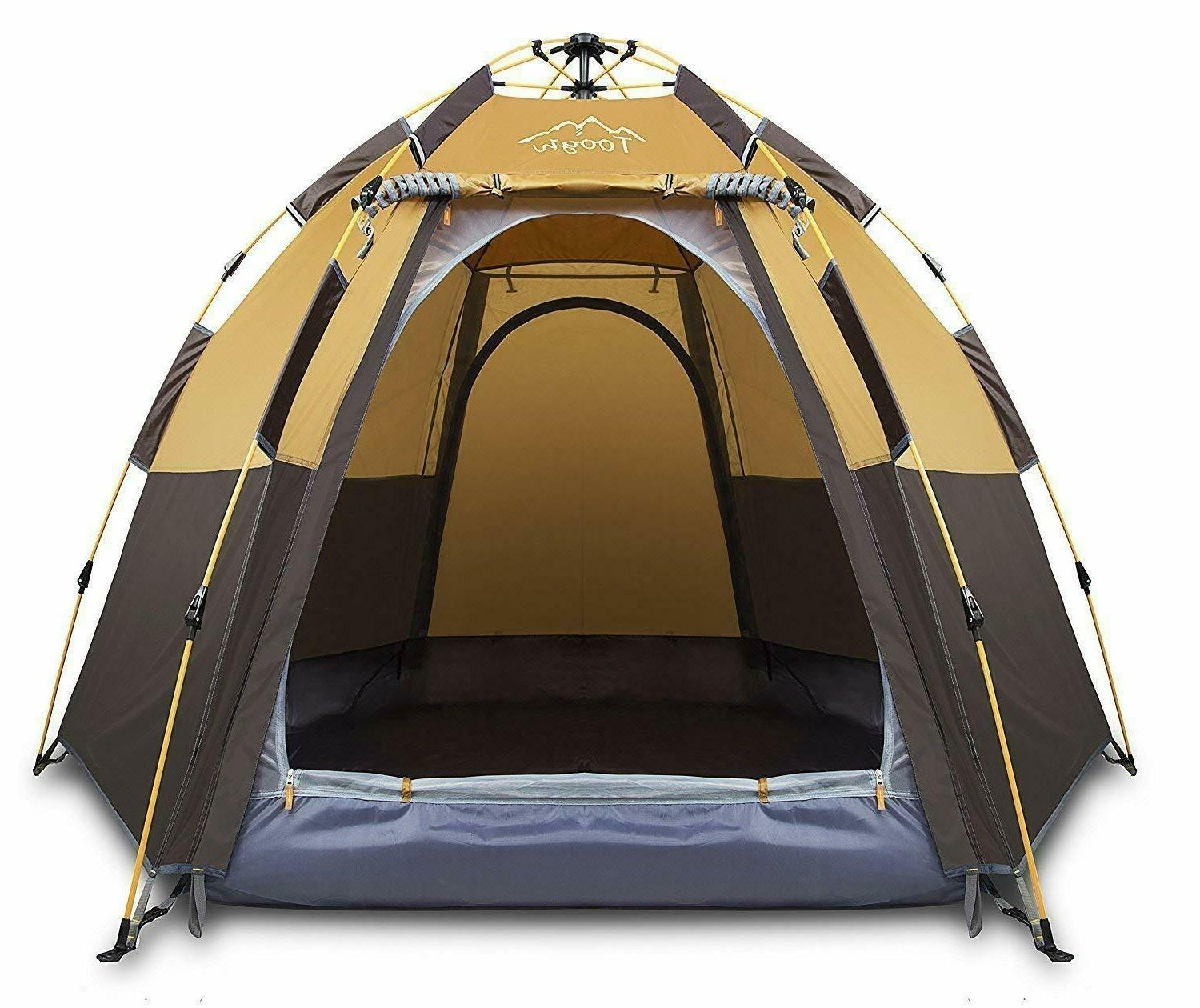 Toogh 3-4 Person Camping Tent Automatic Pop-Up Backpacking W