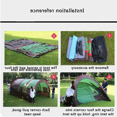 Camping Tunnel Tent Waterproof Shelter Double Layer