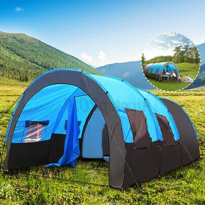 US Person Family Camping Tunnel Tent Waterproof Shelter Layer