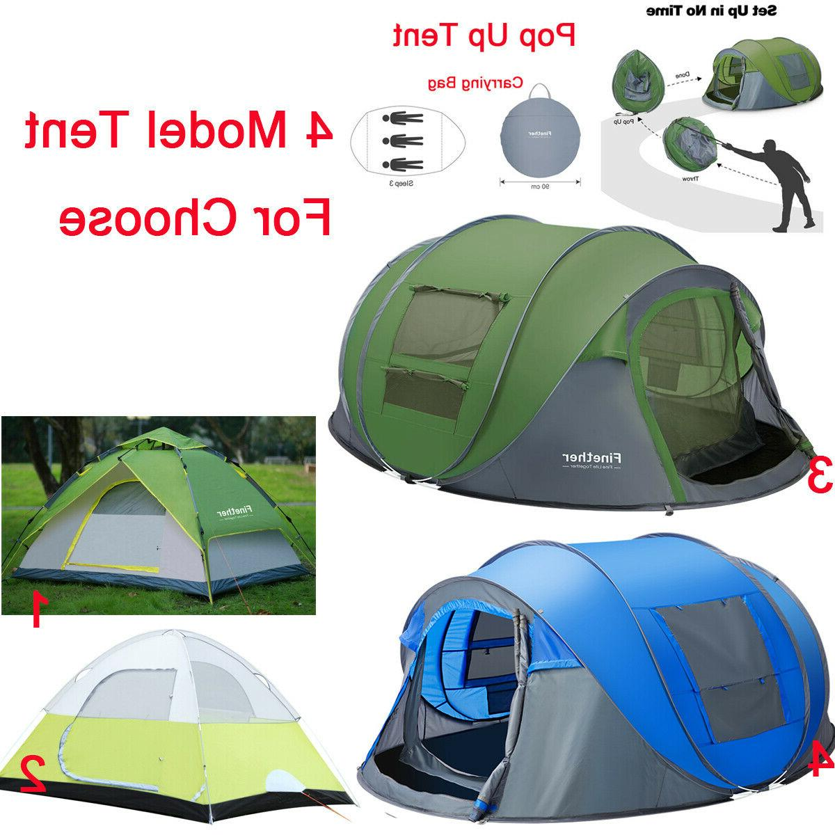Waterproof 3-4 People Instant Pop Up Green Camping Hiking Tent