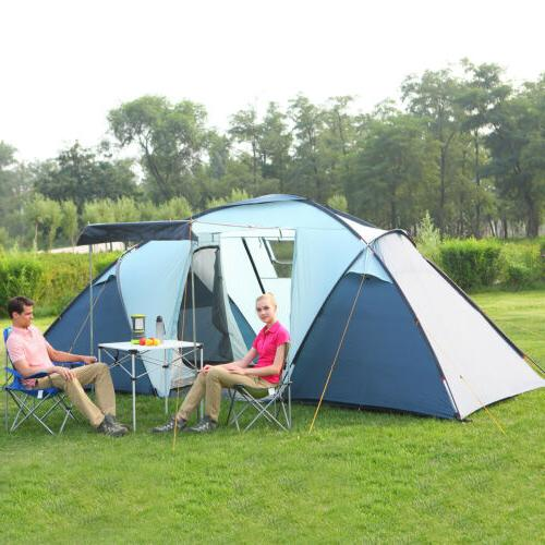 Waterproof 4 Person 2+1 Room Camping Tent 3 Season 2 Family