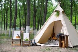 US Ship Oudoor Canvas Camping Pyramid Adult Indian Teepee Te