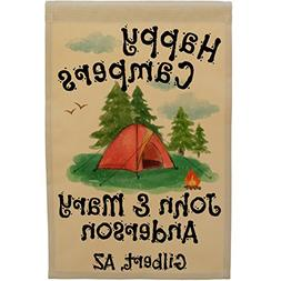 Happy Campers Personalized Tent Campsite Sign, Garden Flag,