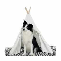 HAN-MM Pet Teepee Dog Toy Tent Classical Pure White Canvas S
