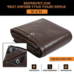 10' x 10' Super Heavy Duty 16 Mil Brown Poly Tarp Cover - Th