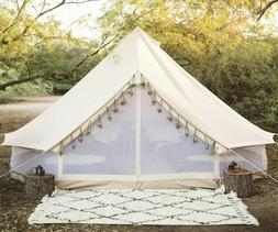 US Shipped 5M Cotton Canvas Bell Tent with Double Mesh Wall
