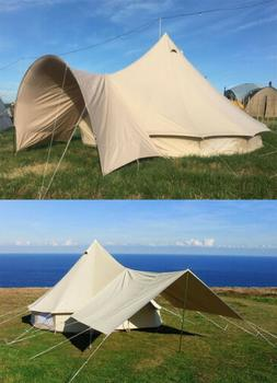 Waterproof Canvas Bell Tent Awning Canopy Sunshade for Tent