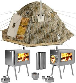 Hot Tent with Wood Burning Stove - 4 Season Cold Weather Exp