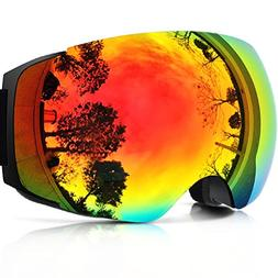 Zionor X4 Ski Snowboard Snow Goggles Magnet Dual Layers Lens